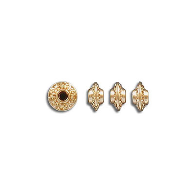 Metal beads, 6mm, inside diameter 1.8mm, gold plate