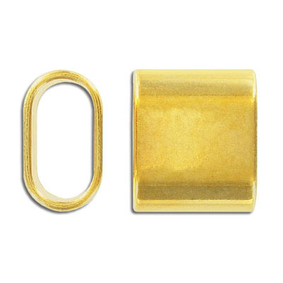 Metal bead, 24x20mm, oval tube, inside diameter 20x10mm, zinc alloy, gold plate, nickel free. Made in Europe