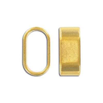Metal bead, 24x10mm, oval tube, inside diameter 20x10mm, zinc alloy, gold plate, nickel free. Made in Europe