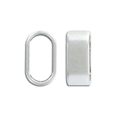 Metal bead, 24x10mm, oval tube, inside diameter 20x10mm, zinc alloy, antique silver, nickel free
