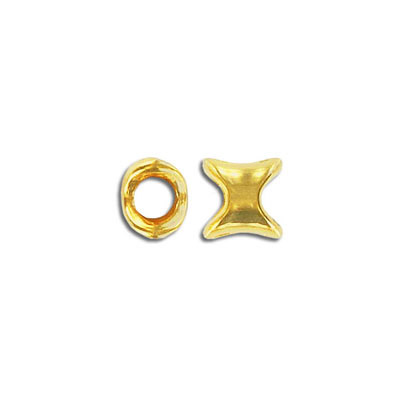 Metal bead, 9mm, irregular form, inside diameter 5.2mm, zinc alloy, gold plate, nickel free. Made in Europe