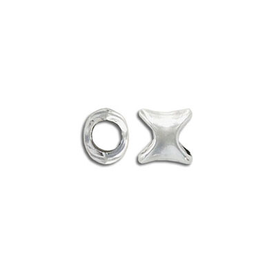 Metal bead, 9mm, irregular form, inside diameter 5.2mm, zinc alloy, antique silver, nickel free
