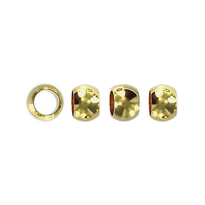 Metal beads, 6mm, round, large hole,  yellow