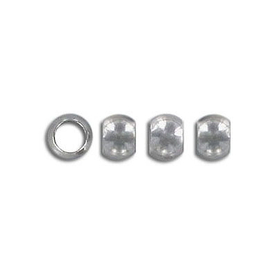 Metal beads, 6mm, inside diameter 4mm, stainless steel, grade 304l
