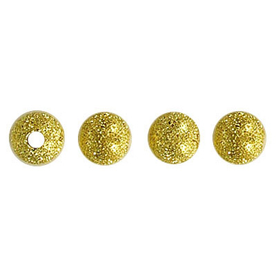 Metal beads, 6mm, round, frosted, gold plated