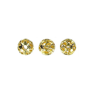 Metal beads, 6mm, round,  filigree  gold plated