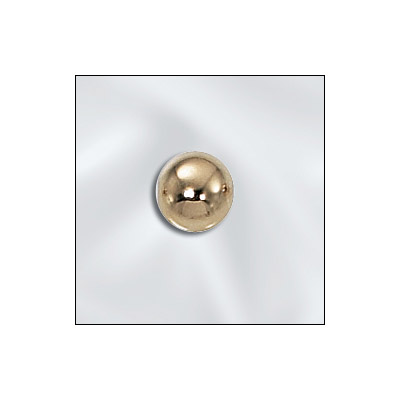 Metal bead, 6mm round seamless bead with 1.5mm hole, gold filled, gold plate