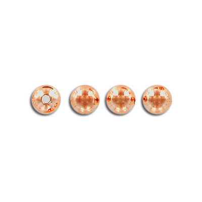 Metal beads, 6mm, round, rose gold plate