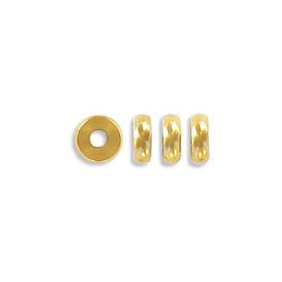 Metal bead, rondelle, 6mm, inside diameter 2mm, 2mm thick, stainless steel, gold vacuum plate