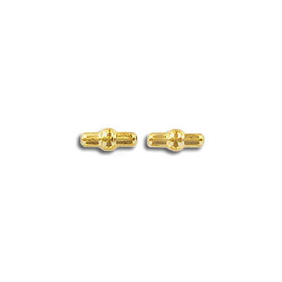 Metal beads, 6x2mm, fancy  gold plated