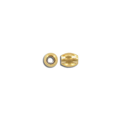 Metal beads, 6x7mm, inside diameter 3mm, stainless steel, gold plate