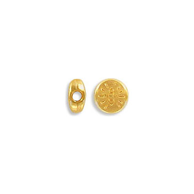 Metal beads, 6mm, flat round, with eye engraved, inside diameter 1.9mm, zamak (zinc alloy), gold color
