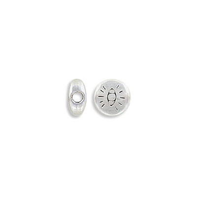 Metal beads, 6mm, flat round, with eye engraved, inside diameter 1.9mm, zamak (zinc alloy), antique silver