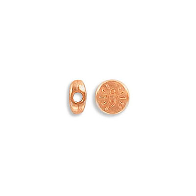 Metal beads, 6mm, flat round, with eye, inside diameter 1.9mm, zamak (zinc alloy), rose gold color