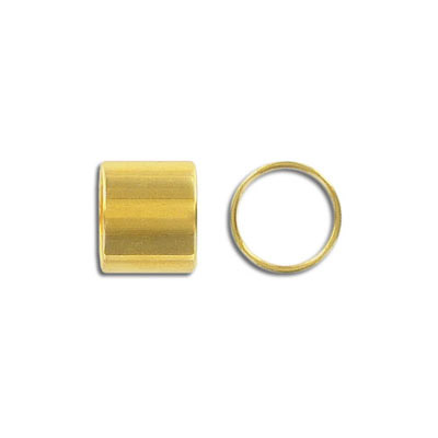 Metal bead, 12x10mm, brass core tube, inside diameter 10mm, gold plate, nickel free. Made in Europe