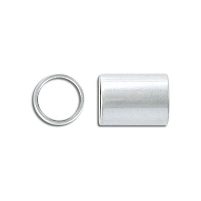 Metal bead, 12x16mm, tube, inside diameter 10mm, brass core, antique silver, nickel free