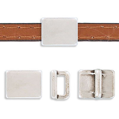 Metal beads, 10x8mm, inside diameter 5x2mm, rectangle, slider, zamak (zinc alloy), antique silver