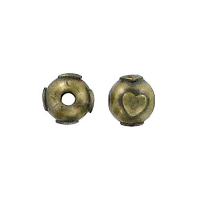 Metal beads, with heart ornament, antique brass