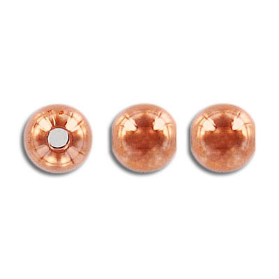 Metal beads, 8mm, round, rose gold plate