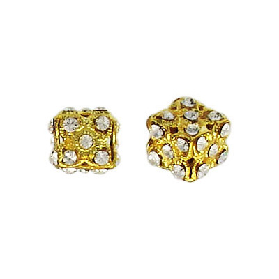 Metal beads, cube crystal/gold plated