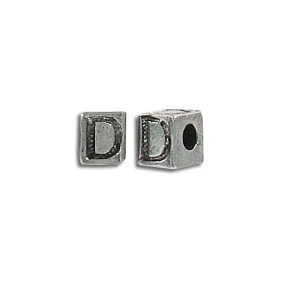 Metal beads, alphabet cube antique silver plated lead free