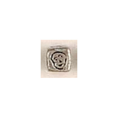 Metal beads, cube face, pewter