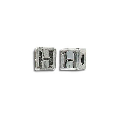 Metal beads, alphabet cube antique silver plated lead safe