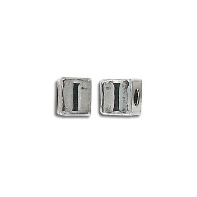 Metal beads, alphabet cube antique silver plated nf