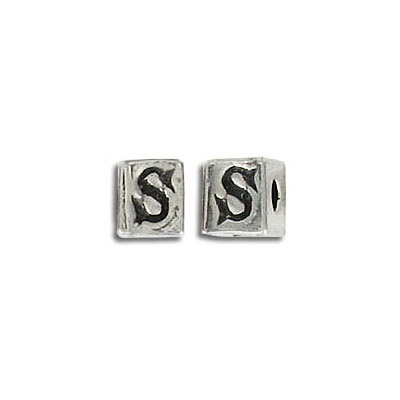 Metal beads, alphabet cube antique silver plated nickel free