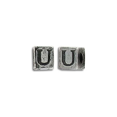 Metal beads, alphabet cube antique silver plated