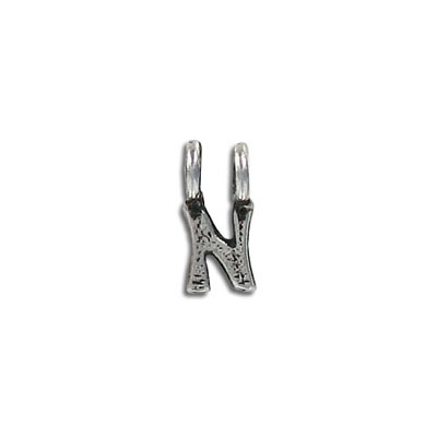 Metal beads, (25)hang alpha  n  antique silver plated