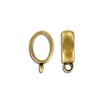 Metal beads for Regaliz leather TT10X7MM, 7x19.5mm, spacer with loop, antique brass, zink alloy
