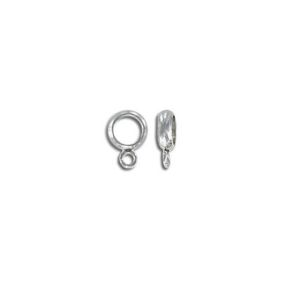 Metal bead with loop, 8x5.5mm, inside diameter 5mm, stainless steel, 304L