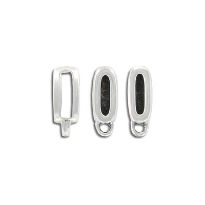 Metal beads for flat Regaliz leather, 16.3x5.7mm, rectangular spacer with loop, inside diameter 10x2.5mm, antique silver