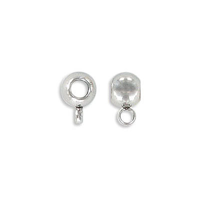 Metal beads, 6x4.40mm, with loop, inside diameter 3mm, stainless steel