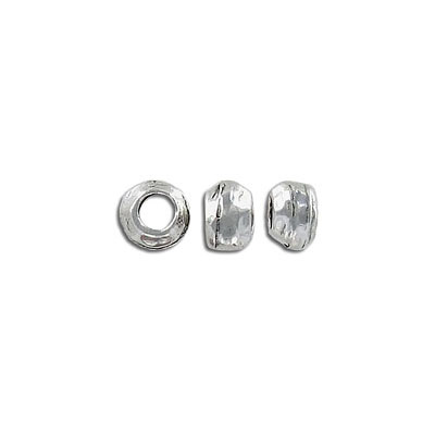 Metal beads, 8x6mm, inside diameter 4mm, antique silver, pewter