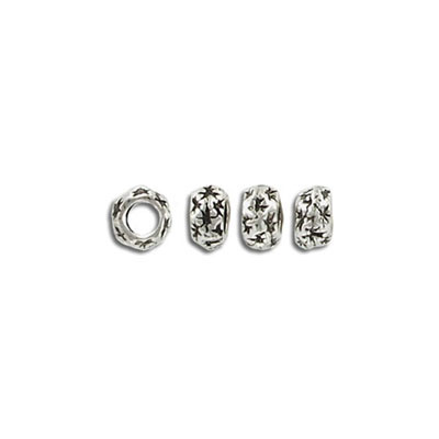 Metal beads, 7x4mm, 3mm hole, pewter