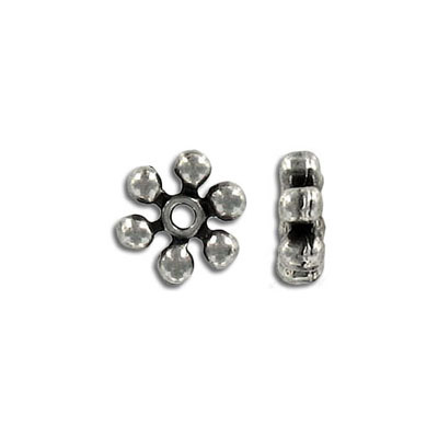 Metal beads, sprocket, antique silver plate