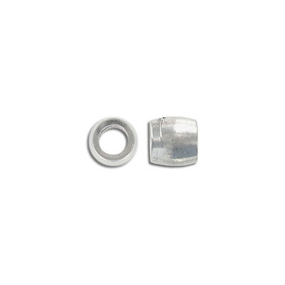 Metal bead, 9.4mm, barrel, inside diameter 5.4mm, pewter