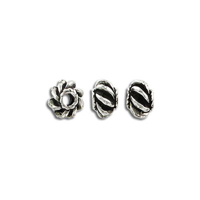 Metal beads, 5x8mm, pewter, lead safe