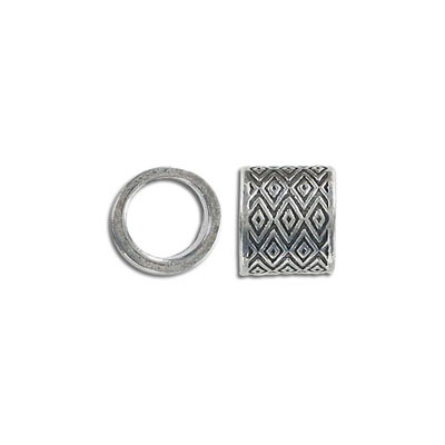 Metal beads, 13x11mm, large hole, 10mm inside diameter, pewter, antique silver plated
