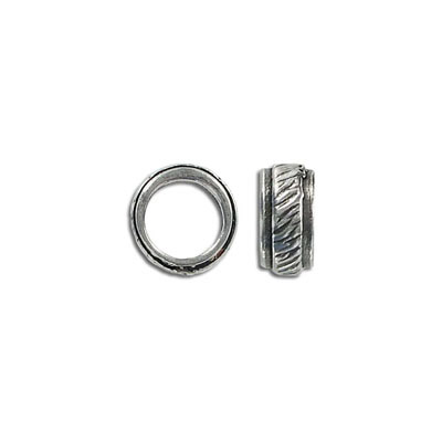 Metal beads, 13x6mm, large hole, 10mm inside diameter, pewter, antique silver plated