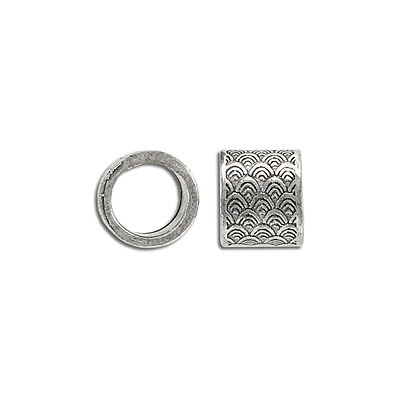 Metal beads, 13x11mm, large hole, pewter, antique silver