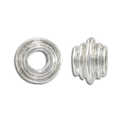 Metal beads, large hole, silver plate, lead/cad safe