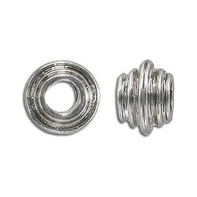 Metal beads, large hole, nickel finish, lead/cad safe