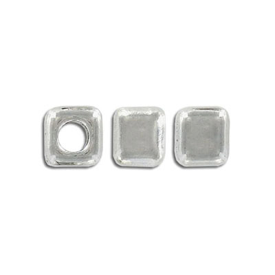 Metal beads, 10mm, square, 5mm hole, pewter, lead safe