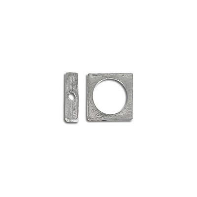 Metal beads, 11mm square, ring, antique silver plated