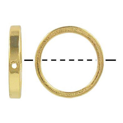 Metal beads, 18mm round, ring, gold plated