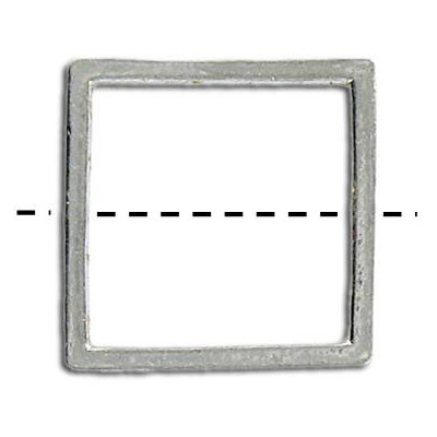 Metal beads, 24mm square, ring, antique silver plated lead-free