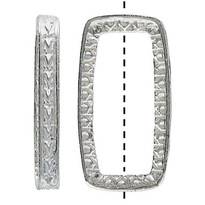 Metal beads, 19x36mm rectangle, ring,  silver plated plat